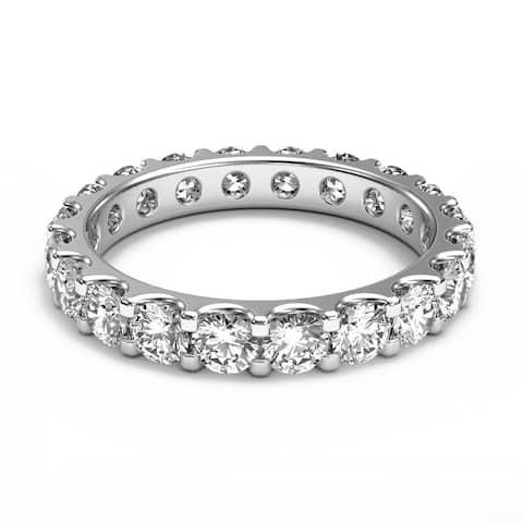 14K White Gold 2.00 CT Share Prong Round Diamond Eternity Wedding Band