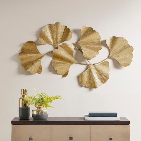 Martha Stewart Faye Gold Foil Ginkgo Leaf Wall Art
