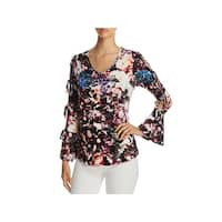 Cupio Womens Casual Top Floral Print Cold Shoulder