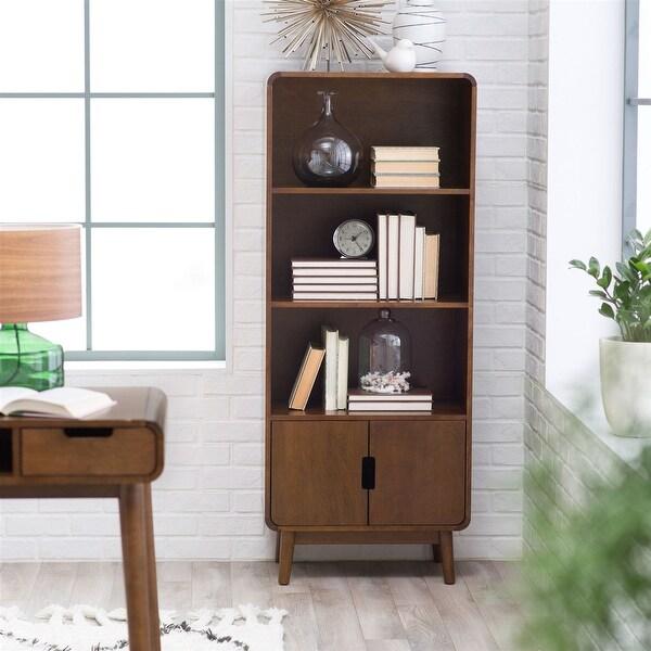 Modern Classic Mid-Century Style Bookcase Cabinet in Wallnut Wood Finish
