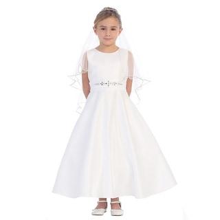 Girls White Sparkle Rhinestone A-Line Satin Elegant Communion Dress