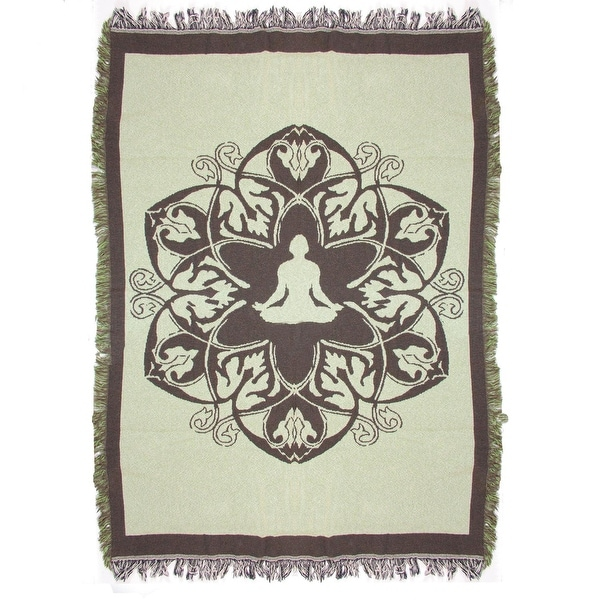 """Olive Green and Brown Inspirational Hindi Yoga Tapestry Throw Blanket 49"""" x 69"""""""