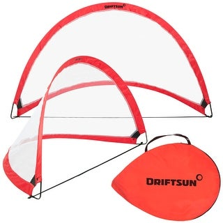 Driftsun Sports Soccer Goal Set for Backyard and Practice Play - Portable Folding Pop Up 4FT Soccer Net Set (2 Soccer Net Goals