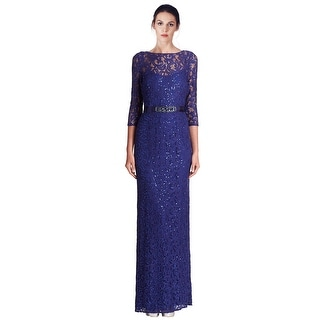 Teri Jon Sequined Lace 3/4 Sleeve Long Evening Gown Dress - 10