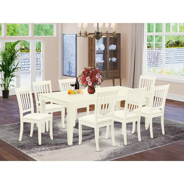 Dining Table and Kitchen Chairs in White Linen Fabric (Number of Chairs Option). Opens flyout.