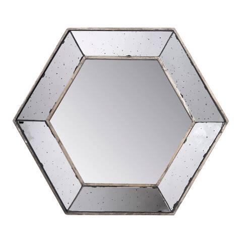 A&B Home Antiqued 18-inch Hexagon Mirror - Silver