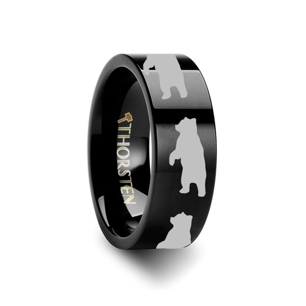 THORSTEN - Animal Standing Print Ring Engraved Flat Black Tungsten Ring - 10mm