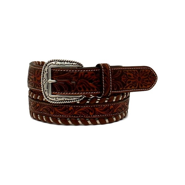 Ariat Western Belt Mens Embossed Laced Leather Floral Tan
