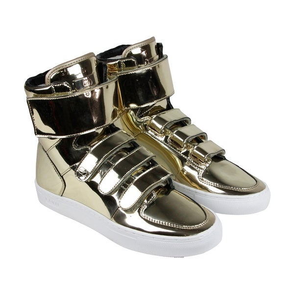 Radii Point Mens Gold Leather High Top Lace Up Sneakers Shoes