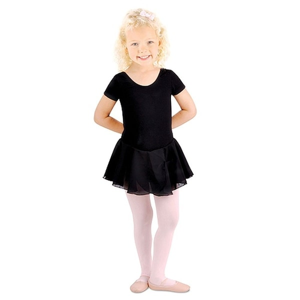 Danshuz Toddler Little Girls Black Dance Dress Short Sleeve 2-14