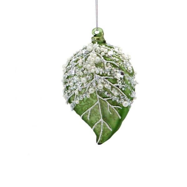 "4.5"" Earthy Green Beaded Leaf Foliage Christmas Ornament"