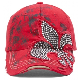 TopHeadwear Beaded Fleur-de-lis Distressed Adjustable Baseball Cap (Option: Red)