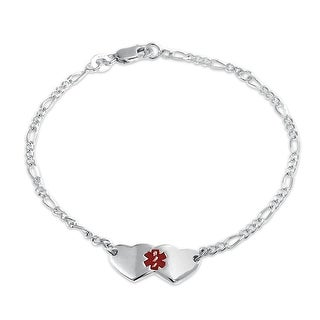 Bling Jewelry Red Enamel Hearts Cross Medical Alert ID Bracelet 925 Silver