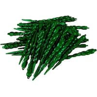 Club Pack of 36 Emerald Green Shatterproof Icicle Christmas Ornaments 5""