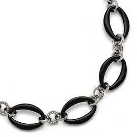 Chisel Titanium Polished Black IP-plated Ovals CZs Necklace - 21 in