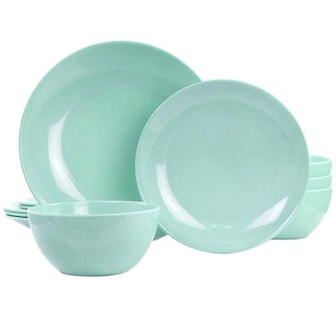 Martha Stewart 12 Piece Melamine Dinnerware Set in Blue