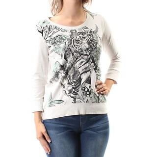 $90 STYLE & COMPANY New Womens 1193 Beige Tiger 3/4 Sleeve Sweater Petites S B+B