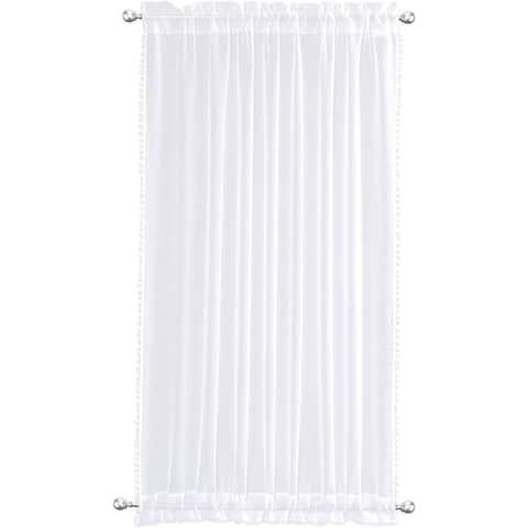 DriftAway Laura Pom Pom Trimmed Solid Sheer Door Curtain