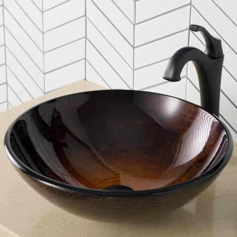 """Kraus C-GV-580-12MM-1200 Arlo & Glass 16-1/2"""" Glass Vessel Bathroom"""