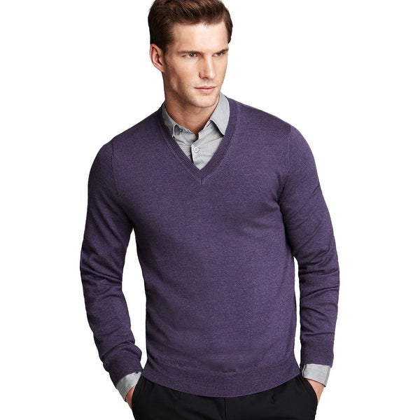 Bloomingdales Viola Purple V-Neck Sweater XX-Large Fabric By Zegna Baruffa