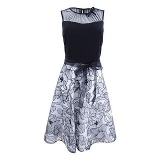 SL Fashions Women's Mesh & Floral Embroidered Dress (4, Black/White) - Black/White - 4