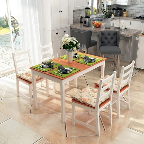 Five Piece Solid Pine Wood Table and High Back Chair Dining Set