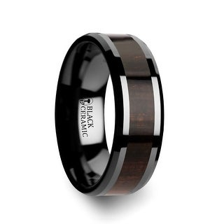 Umbra Black Ebony Wood Inlaid Black Ceramic Ring With Beveled Edges