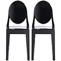 2xhome - Set of Two (2) - Black - Victorian Plastic Chair Clear Side Chair Armless