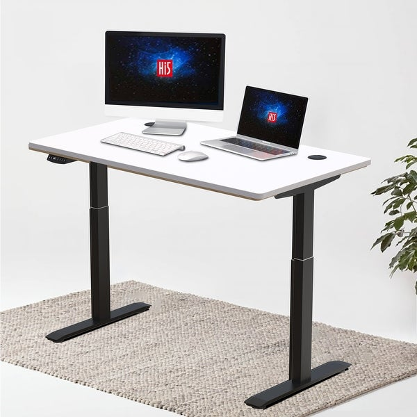 """Hi5 Electric Height Adjustable Standing Desks with Rectangular Tabletop (63""""x 27.5"""") with 4 Color Options. Opens flyout."""