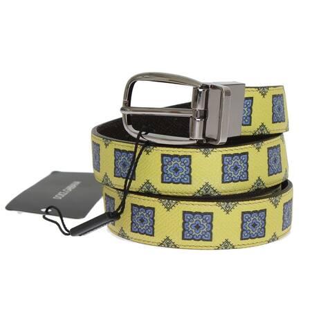 Yellow Leather Pattern Men's Belt