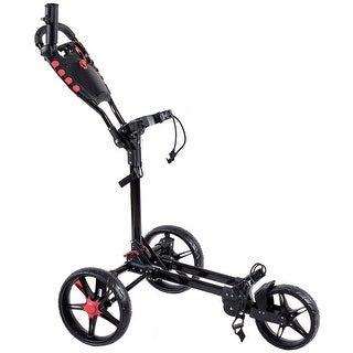 Costway Lightweight Foldable 3 Wheel Golf Pull Push Cart Trolley Club w/ Umbrella Holder - as pic