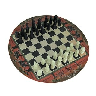African Sunset Hand Painted 11.75 inch Round Chess Set Hand Carved Pieces - Red