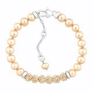 Crystaluxe Girl's Champagne Freshwater Pearl Bracelet with Swarovski Crystals in Sterling Silver