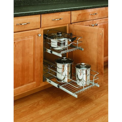 """Rev-A-Shelf 5WB2-1222 5WB Series 12"""" Wide by 22"""" Deep Two Tier Pull Out Base Cabinet Wire Basket Organizer - Chrome"""