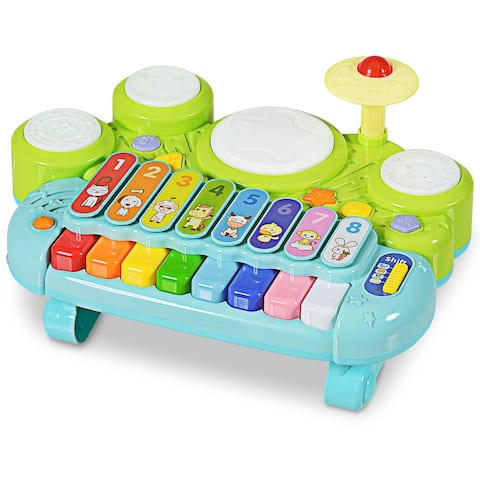 Gymax 3-In-1 Drum Xylophone Piano Keyboard Set Electronic Musical Instrument Toy