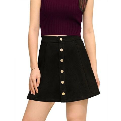 Allegra K Woman Button Closure Front Mid Rise Mini A-Line Skirt