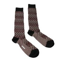 Missoni GM00CMU5242 0001 Burgundy/Cream Chevron Knee Length Socks - S