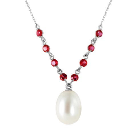 5 Carat 14K Solid Gold Elegant Necklace Natural Rubys with Pearl
