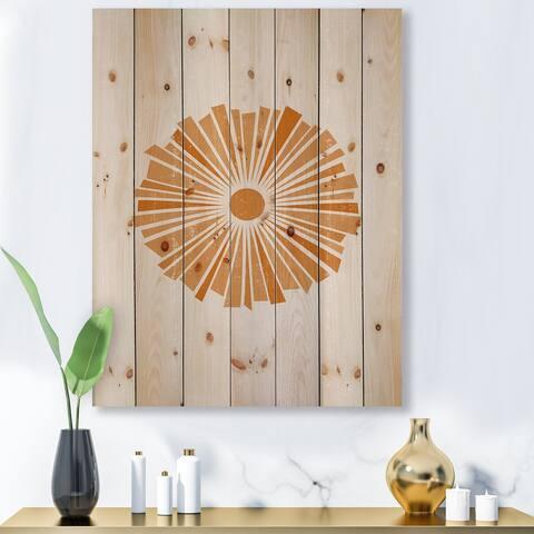 Designart 'Minimal Orange Radiant Sun I' Modern Print on Natural Pine Wood