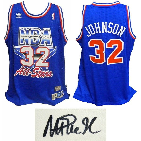 4ba36a9bd Magic Johnson Western Conference 1992 All Star Game Official Adidas Blue  Swingman Jersey