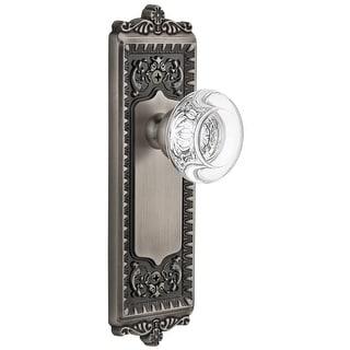 """Grandeur WINBOR_PRV_238  Windsor Solid Brass Rose Privacy Door Knob Set with Bordeaux Crystal Knob and 2-3/8"""" Backset"""