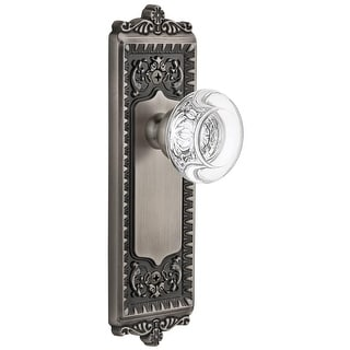 "Grandeur WINBOR_PSG_238  Windsor Solid Brass Rose Passage Door Knob Set with Bordeaux Crystal Knob and 2-3/8"" Backset"