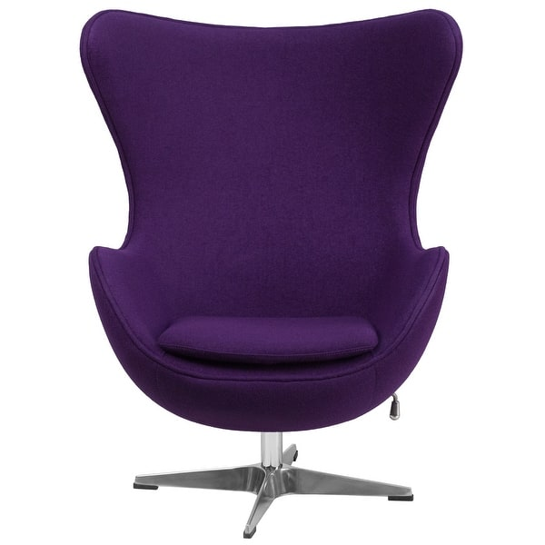 Shop Black Friday Deals On 43 Purple Wool Fabric Swivel Egg Lounge Chair With Curved Arms And Tilt Lock Mechanism On Sale Overstock 30540049