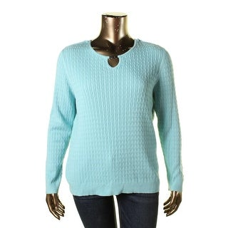 Karen Scott Womens Plus Cable Knit Keyhole Pullover Sweater - 3X