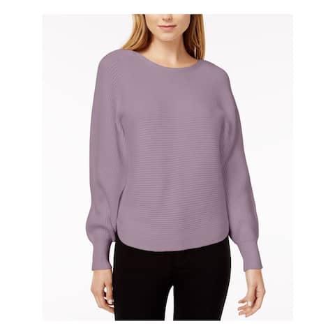 BAR III $70 Womens New 1227 Purple Ribbed Knit Long Sleeve Sweater 2XS