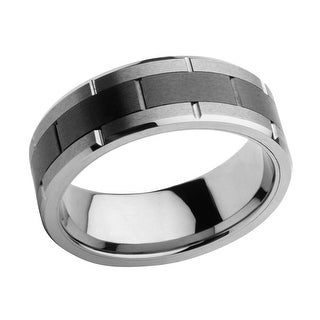 INOX Jewelry Men's Stainless Steel with Black Center Tungsten Carbide and Ceramic Ring - Silver