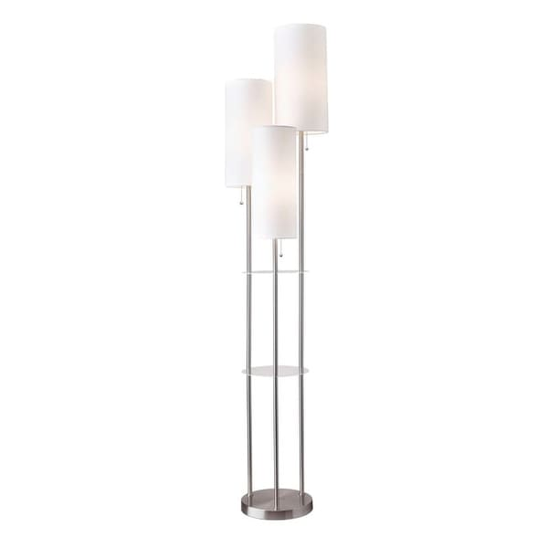 """Adesso 4305 Trio 3 Light 90"""" Tall Tree Floor Lamp with Linen Shades"""