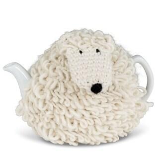 Sheep Tea Cozy with Teapot - Fleece Cozy and 40 Oz White Stoneware Teapot Set - 9 in. x 6 in. x 6 in.