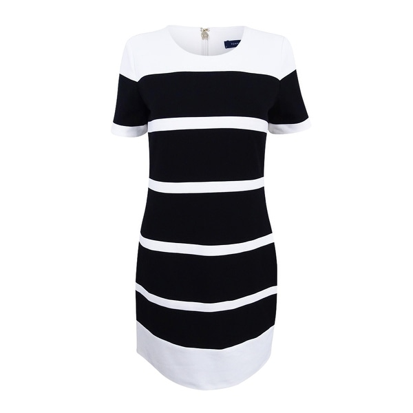 9733516d42c Shop Tommy Hilfiger Women's Striped Scuba Crepe Sheath Dress - Black/Ivory  - Free Shipping Today - Overstock - 20564526
