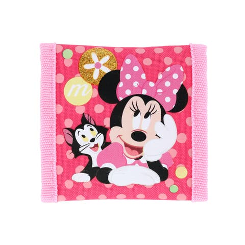 Disney Kid's Minnie Mouse and Cat Trifold Wallet with Hook and Loop Closure